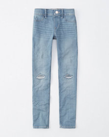 ripped pull-on jean leggings, ripped light medium