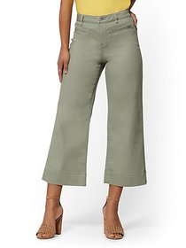 High-Waisted Wide Leg Crop Jeans - Green - New Yor