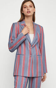 BCBG Striped Single Breasted Blazer