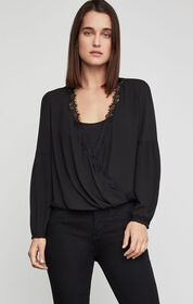 BCBG Faux Wrap High-Low Top
