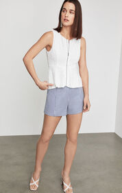 BCBG Lace Zip Front Peplum Top