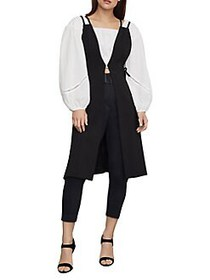 BCBGMAXAZRIA Lace Up Long Jacket BLACK