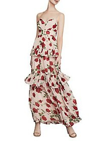BCBGMAXAZRIA La Rosa Tiered Maxi Dress BARE PINK