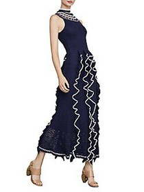 BCBGMAXAZRIA Two-Tone Ruffle Midi Dress DARK NAVY