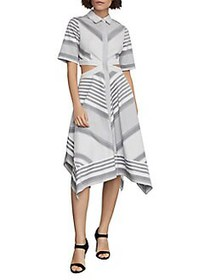 BCBGMAXAZRIA Striped Cutout Cotton Handkerchief Dr