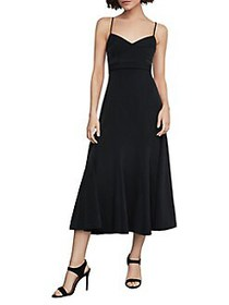 BCBGMAXAZRIA Strappy Midi Fit-&-Flare Dress BLACK