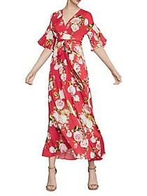 BCBGMAXAZRIA Rose Bloom Maxi Dress SCARLET
