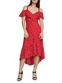 BCBGMAXAZRIA Lace Flared High-Low Dress SCARLET
