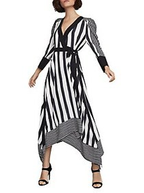 BCBGMAXAZRIA Stripe Faux Wrap Dress BLACK WHITE