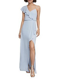 BCBGMAXAZRIA One-Shoulder Draped Ruffle Gown LIGHT