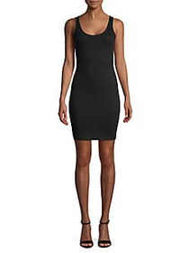 French Connection Tommy Ribbed Bodycon Dress BLACK