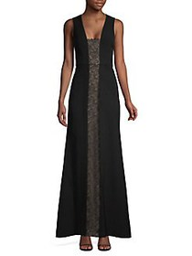 BCBGMAXAZRIA Lace Panel Sleeveless Gown BLACK