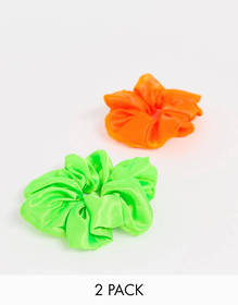 My Accessories London neon scunchie 2 pack