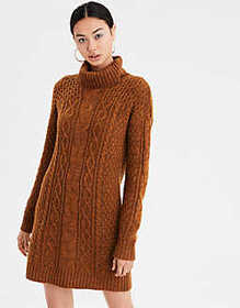 American Eagle AE Turtleneck Cable Knit Sweater Dr