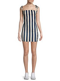 ASTR The Label Lena Tie Sleeve Striped Mini Dress