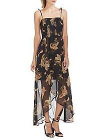 Vince Camuto Oasis Smocked Paisley Dress RICH BLAC