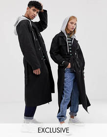 COLLUSION Unisex trench coat with removable hood