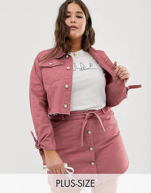 Urban Bliss Plus cropped denim jacket with tie cuf