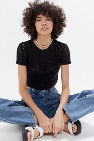 UO Brittany Button-Front Short Sleeve Sweater