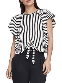 BCBGMAXAZRIA Stripe Cotton Blend Cropped Top BLACK
