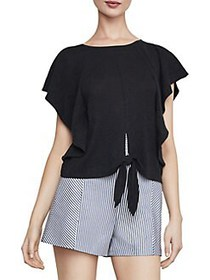 BCBGMAXAZRIA Tie-Front Cropped Top BLACK