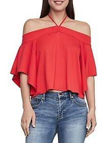 BCBGMAXAZRIA Off-The-Shoulder Halterneck Cropped T
