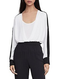 BCBGMAXAZRIA Two-Tone Faux Wrap Top OPTIC WHITE BL