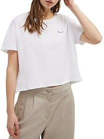 French Connection Femme Cotton Cropped Tee WHITE B