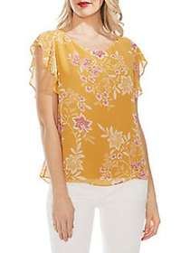 Vince Camuto Oasis Floral Chiffon Blouse AMBER SUN