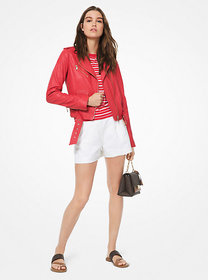 Michael Kors Crinkled Leather Moto Jacket