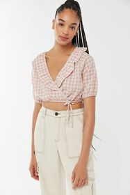 Urban Renewal Remnants Gingham Ruffle Cropped Top
