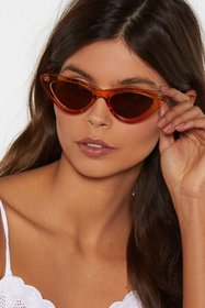 Nasty Gal Womens Brown Have to Go Meow Cat-Eye 2-p