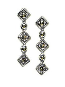 Lord & Taylor Sterling Silver & Marcasite Drop Ear