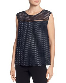 T Tahari - Sleeveless Pleated Dot-Print Top