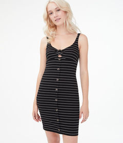Aeropostale Striped O-Ring Button-Front Bodycon Dr