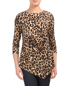 VINCE CAMUTO Side Ruched Leopard Blouse