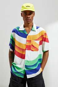 UO Rainbow Bands Rayon Short Sleeve Button-Down Sh