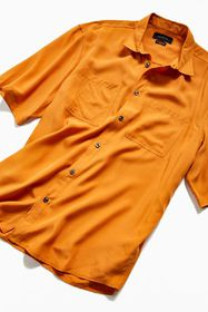 UO Solid Faux Silk Short Sleeve Button-Down Relaxe