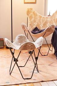 Printed Sherpa Butterfly Stool Cover