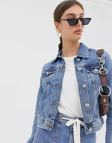 River Island fitted denim jacket in mid wash