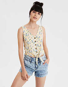 American Eagle AE Tropical Print Button Front Tank