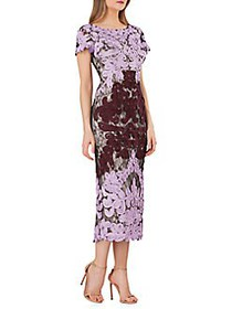 JS Collections Boatneck Embroidered Dress ORCHID