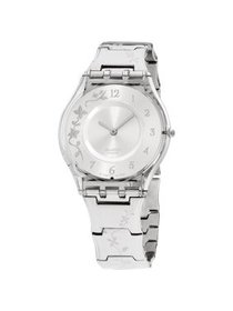 Swatch Skin Climber Flower Silver Dial Stainless S