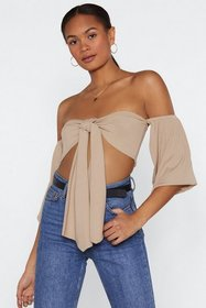 Nasty Gal Womens Stone Tie Me First Off-the-Should
