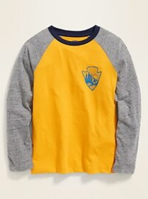 Softest Color-Blocked Graphic Raglan Tee for Boys