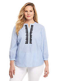 The Limited Plus Size Stripe Peasant Shirt