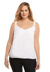 The Limited Plus Size Lace Fluid Crepe Tank