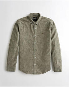 Hollister Linen-Blend Slim Fit Shirt, HEATHER OLIV