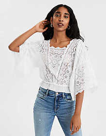 American Eagle AE Square Neck Long Sleeve Top