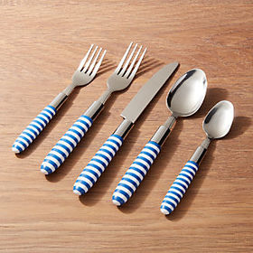 Crate Barrel Blue-and-White Striped Flatware, Set
